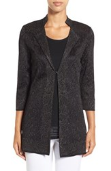 Ming Wang Women's Mandarin Collar Shimmer Knit Jacket Black