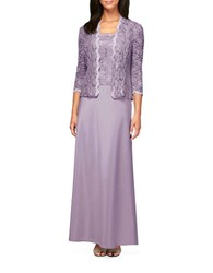 Alex Evenings Two Piece Lace Gown And Jacket Set Icy Orchid