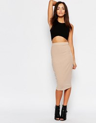 Daisy Street High Waisted Pencil Skirt In Rib Nude