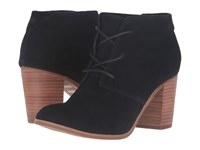 Toms Lunata Lace Up Bootie Black Suede Women's Lace Up Boots