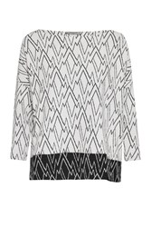 Great Plains Zig Zag Ottoman Tunic Top White