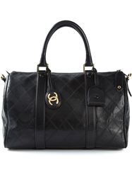 Chanel Vintage Quilted Boston Tote Black