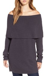 Leith Women's Off The Shoulder Knit Sweater Grey Meteor