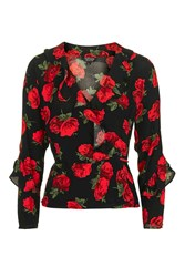 Topshop Rose Long Sleeve Ruffle Wrap Blouse Red