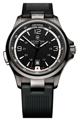Victorinox 'Night Vision' Rubber Strap Watch 42Mm Black Gunmetal
