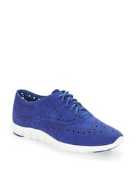 Cole Haan Zerogrand Suede Wingtip Oxford Sneakers Marlin Blue