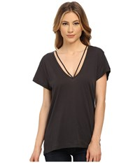 Lna Deep V Strappy Tee Charcoal Women's T Shirt Gray