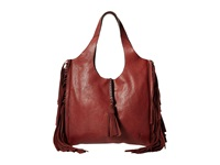 Frye Farrah Fringe Bag Burnt Red Buffalo Leather Top Handle Handbags Brown