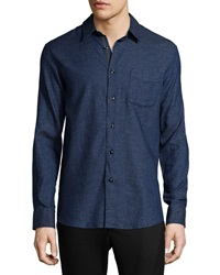 Rag And Bone Solid Long Sleeve Beach Shirt Indigo