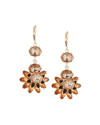 Fragments For Neiman Marcus Floral Crystal Statement Drop Earrings Champagne