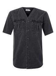 Topman Black Denim Short Sleeve Baseball Shirt