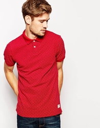 Jack Wills Polo Shirt With Polka Dot Red