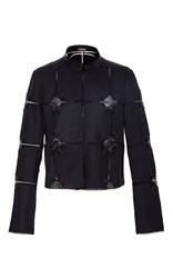 Zac Posen Embroidery Organza Jacket Black