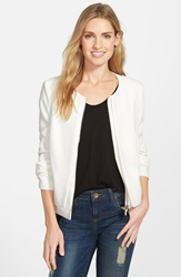 Collarless Layered Front Jacket Ivory Cloud