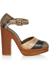 Marni Snake Platform Pumps Brown