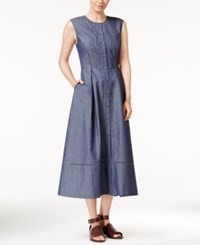 Armani Exchange Sleeveless Midi Shirtdress Navy