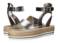 Love Moschino Shiny Espadrille Sandal Black Silver