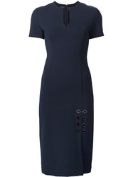 Yigal Azrouel Lace Up Detail Fitted Dress Blue
