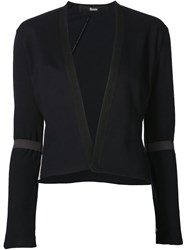 Musa E Sheer Panel Crop Jacket Blue