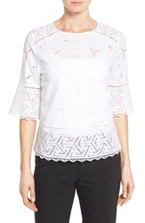 Women's Nordstrom Collection Eyelet Lace Inset Cotton Top