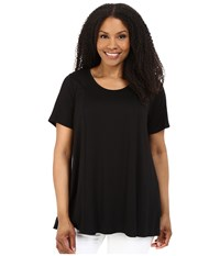 Karen Kane Plus Size Keyhole Back Swing Tee Black Women's T Shirt