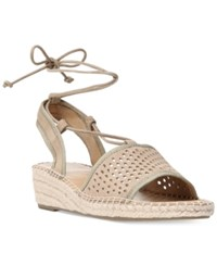 Franco Sarto Liona Lace Up Espadrille Wedge Sandals Women's Shoes Soft Tan
