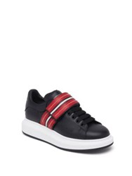Alexander Mcqueen Velcro Strap Calf Leather Sneakers Black Red