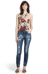 Women's Dolce And Gabbana Rose Print Silk Shell Rose Red