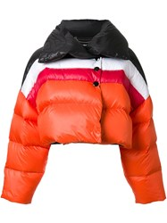 Diesel Cropped Padded Jacket Yellow And Orange
