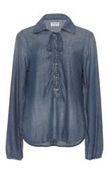 Frame Denim Le Lace Up Chambray Blouse Blue