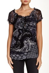 Chaudry Sequin Bead Sheer Detail Blouse Gray
