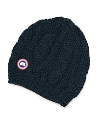 Canada Goose Cable Knit Beanie Hat Ink Blue