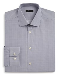 Theory Gridwork Print Regular Fit Dress Shirt Grey