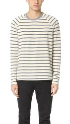 Splendid Mills Venice Stripe Long Sleeve Raglan Crew Tee Off White