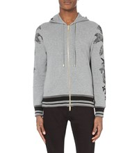 Etro Floral Print Jersey Hoody Grey