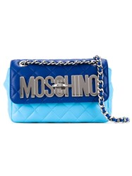 Moschino Quilted Logo Crossbody Bag Blue