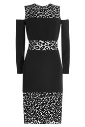 Thierry Mugler Dress With Animal Printed Sheer Inserts Black