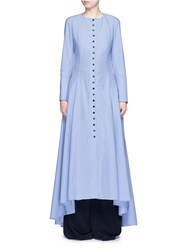 Rosie Assoulin 'Francisican' Button Down Chambray Maxi Dress Blue
