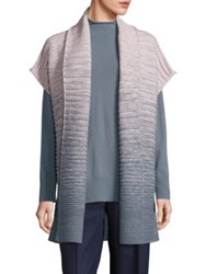 Lafayette 148 New York Merino Wool And Cashmere Rib Knit Ombre Cardigan Ecru Balsam