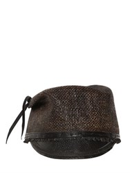 Move Leather Visor Straw Military Hat