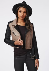 Missguided Faux Leather Contrast Biker Jacket Brown