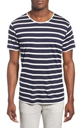 Men's Daniel Buchler Modal And Linen Stripe Short Sleeve T Shirt