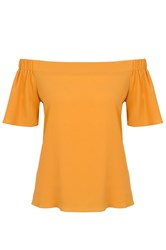 Quiz Mustard Crepe Bardot Dip Hem Top Yellow