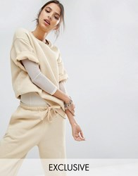 Bones Oversized Boxy Short Sleeve Sweatshirt Co Ord Nude Beige