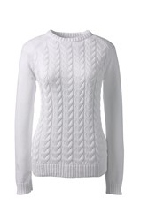 Lands' End Women S Drifter Mixed Stitch Crew Neck White