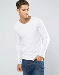 Sisley Long Sleeve T Shirt With Raw Neck White 101