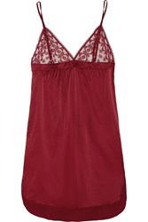 Stella Mccartney Mathilda Giggling Lace Trimmed Stretch Silk Chemise Red