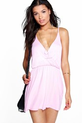 Boohoo Wrap Front Strappy Sundress Pink