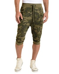 2Xist Camo Print Cargo Cropped Pants Olive Green