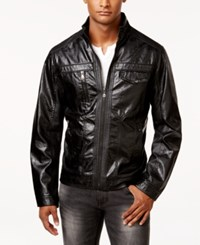 Inc International Concepts Men's Zones Faux Leather Jacket Only At Macy's Black